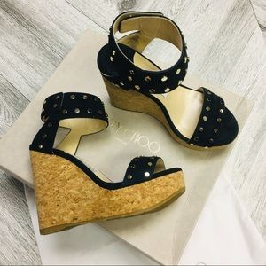 Jimmy Choo | Nelly Studded Wedge In Navy Size 6.5